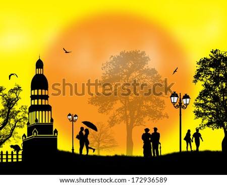 Lovers in beautiful landscape at sunset, vector illustration - stock vector