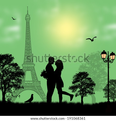 Lovers in Paris on green background, vector illustration - stock vector