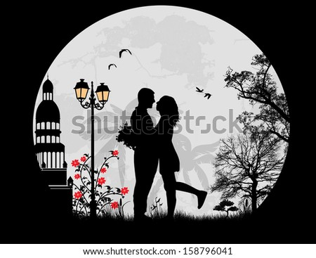 Lovers in the city in front a full moon, vector illustration - stock vector