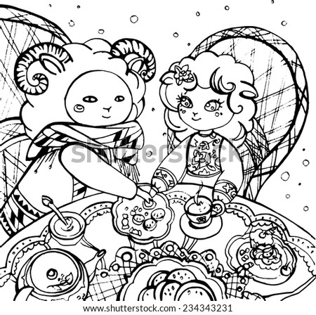 Lovers of lamb drinking tea with goodies, line drawing/Lamb Lovers - stock vector