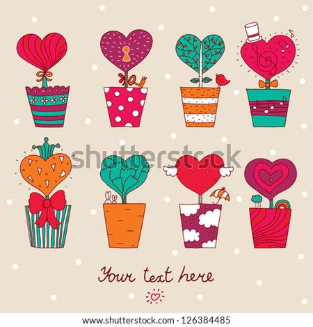 Lovers of the heart. Postcard for St. Valentine's day. - stock vector