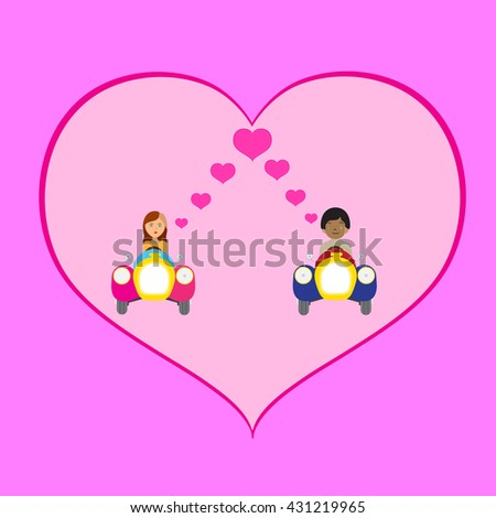 Lovers on the ride vehicles - stock vector