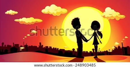 lovers silhouette in sunset - vector illustration - stock vector