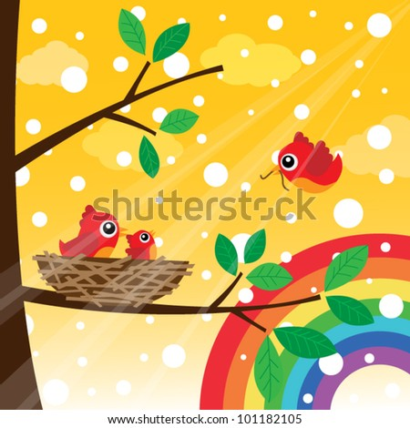 Loving bird feeding with snow - stock vector
