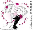 loving couple hugging, vector illustration - stock vector