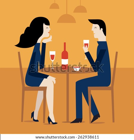 loving couple in restaurant. Romantic couple sitting in cafe - sharing a bottle of wine. Man and woman in a restaurant. couple on a date - stock vector