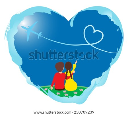 Loving couple in the heart frame isolated on white background - stock vector