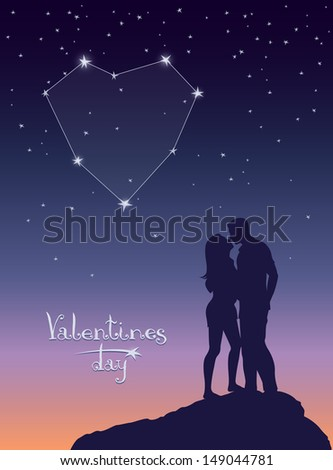 Loving couple kissing under a starry sky. Constellation in the form of heart. Vector illustration a romantic theme - stock vector