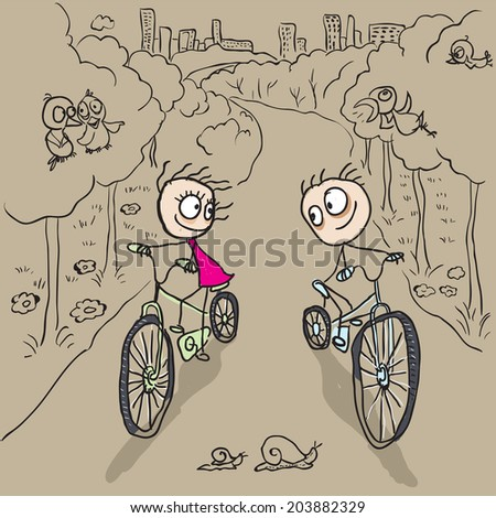 Loving couple man and woman on bicycles. Vector cartoon illustration - stock vector