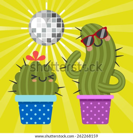 loving couple of dancing cactus with disco ball - stock vector