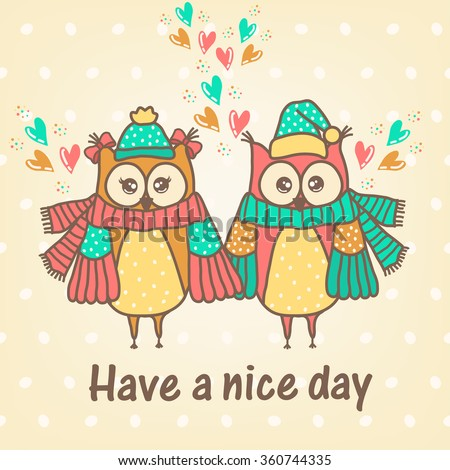 loving couple of owls with a hearts - stock vector
