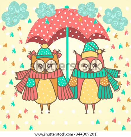loving couple of owls with umbrella in the rain  - stock vector