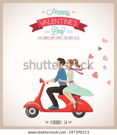 Loving couple on a scooter  - stock vector