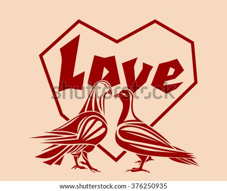 Loving couple pigeons against a backdrop of hearts. Symbol of love. Design element for Valentine's Day or other romantic events. Vector illustration. - stock vector