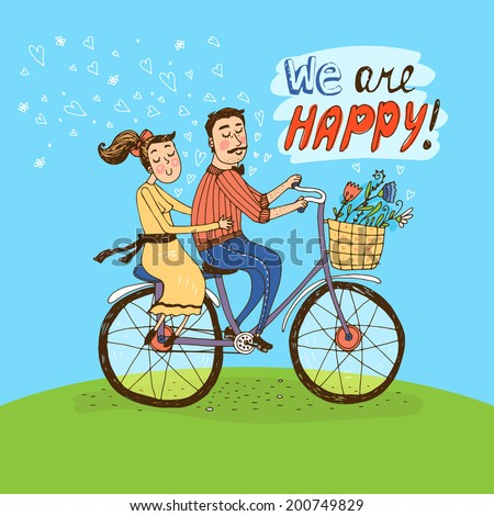 Loving couple riding on a bicycle over a green hill with hearts floating in the air and flowers in the basket and the words - We Are Happy - hand-drawn vector illustration - stock vector