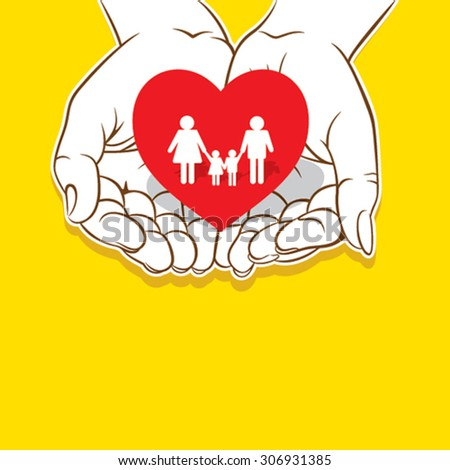 loving family , safe or secure family concept design vector - stock vector