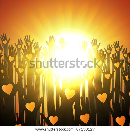 Loving hands design. sunset - stock vector