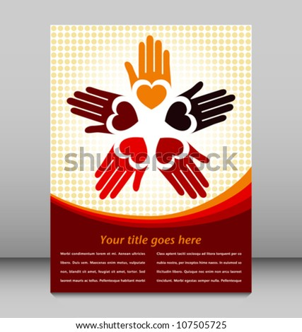 Loving hands design with copy space. - stock vector