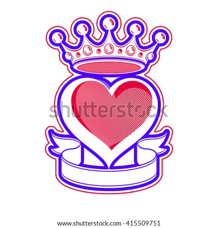 Loving heart artistic illustration with king crown. Royal sophisticated symbol, imperial accessories. Valentines day romantic design element, best for use in advertising and graphic design.