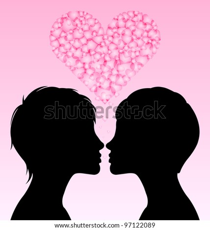 Loving lesbian couple of homosexual women with romantic heart - stock vector