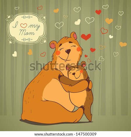 Loving mother bear hugging her baby. Flying hearts and decorative frame with text, illustration - stock vector