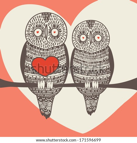 loving owl couple - stock vector
