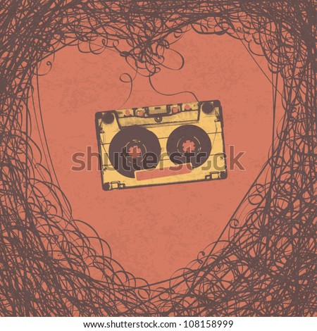 Loving retro music retro poster design. Vector, EPS10 - stock vector