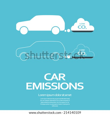 Low car emissions concept. Eps10 vector illustration. - stock vector