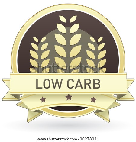 Low carb food label, badge or seal with brown and tan color and wheat or grain emblem in vector style