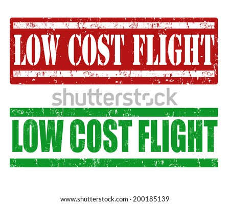 Low cost flight grunge rubber stamps on white, vector illustration - stock vector