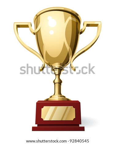 Low Horizon Front View of Golden Sport Cup on White Background. Vector Illustration - stock vector