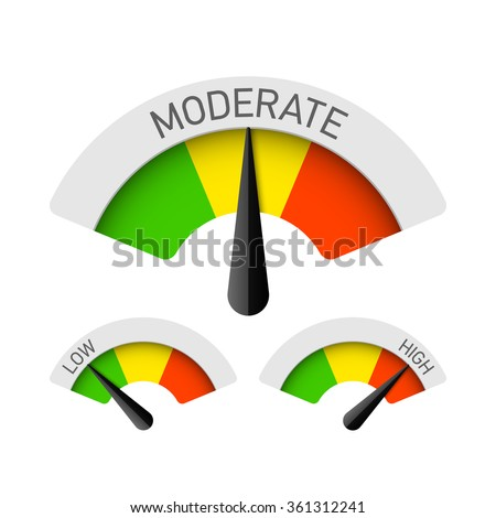 Low, Moderate and High gauges. Vector. - stock vector