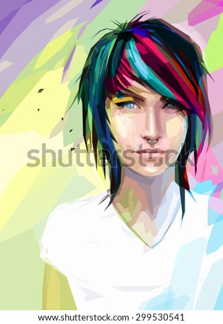 Low poly abstract portrait of the punk girl with blue eyes. Girl with varicoloured hair and piercings in the nose. Poster with cool young teenage. - stock vector