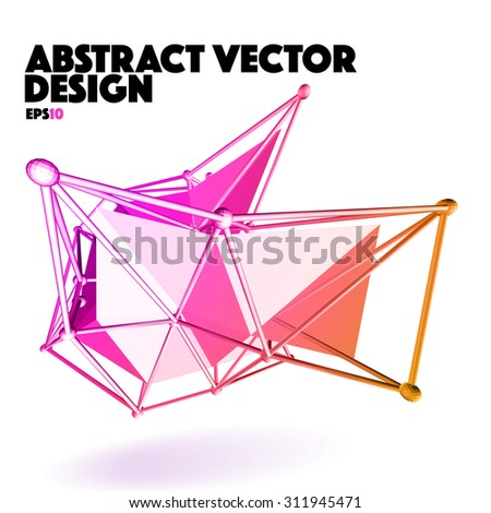 Low Poly Abstract Vector Design Element - Multicolor Polygon - stock vector