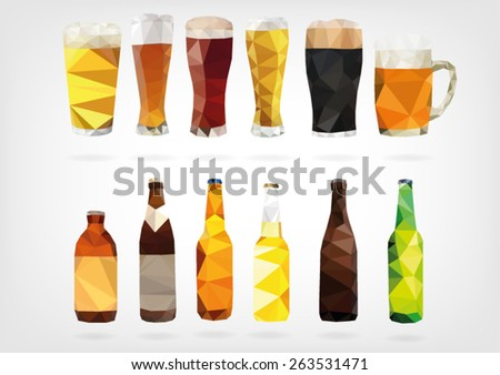 Low Poly Beer Bottles and Glasses - stock vector