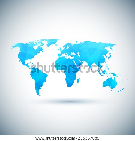 Low poly blue vector world map.  - stock vector