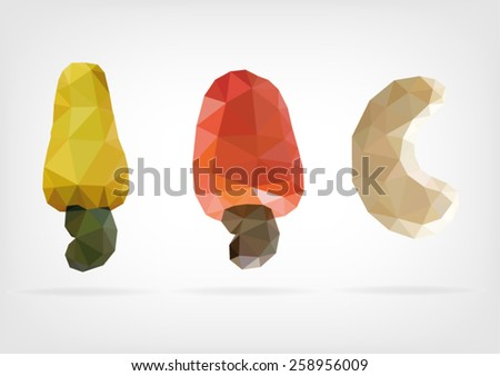 Low Poly Cashew nut and fruit - stock vector