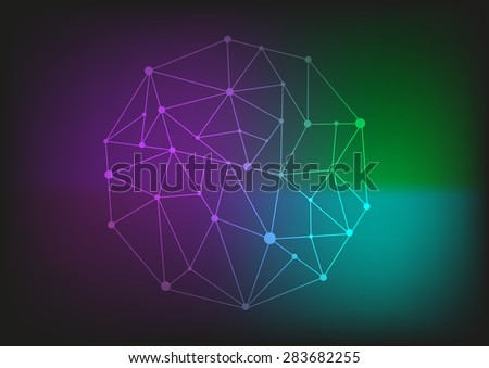 Low Poly Circular Shape on a Dark Spectrum background. Editable Clip Art.  - stock vector