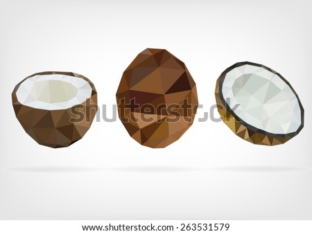 Low Poly Coconut - stock vector