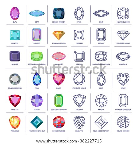 Low poly colored & black outline template four-sided step-cut gem cut icons isolated on white background, vector illustration