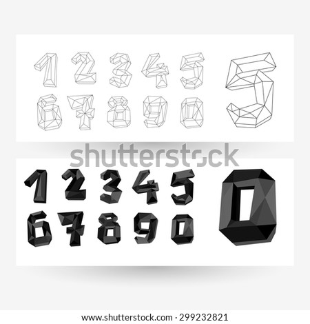 Low poly crystal numbers set, collection, geometric vector typography.  - stock vector