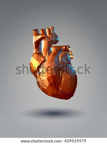 Low poly 3D human heart illustration on gray background - stock vector