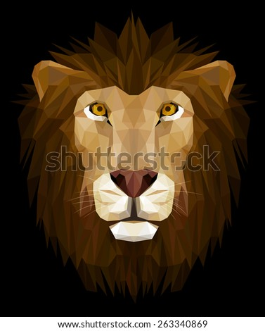 Low poly design, illustration of lion head, EPS 8. - stock vector