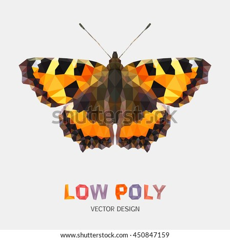 Low poly design of butterfly. Aglais Urticae. Vector mosaic pattern - stock vector