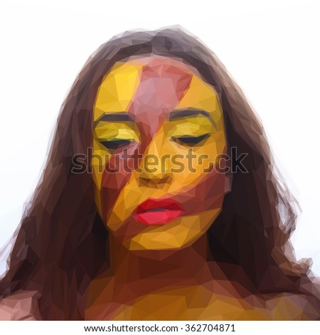 Low poly design triangular girl portrait africa Indian ink