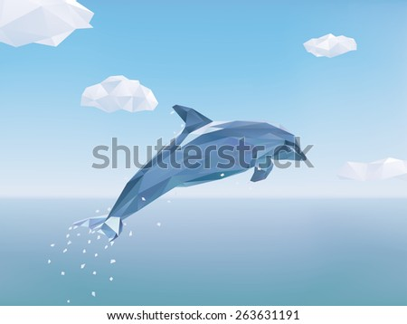 Low Poly Dolphin jumping out of the ocean. Vector Illustration of Dolphin jumping from the sea, some clouds in the sky. - stock vector