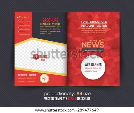 Low Poly Elements Style Business Bi-Fold Brochure Design. Corporate Leaflet, Cover Template - stock vector