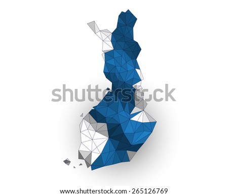 Low Poly Finland map on a waving flag - stock vector