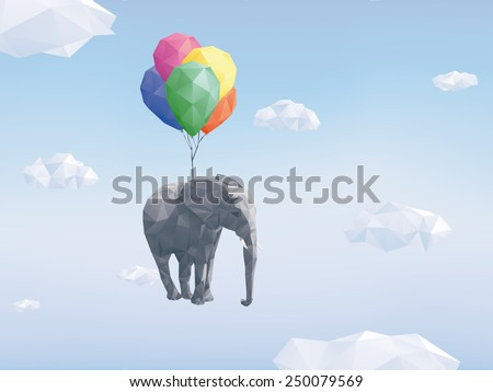 Low Poly Flying Elephant. Low Poly Image of Elephant attached to balloons flying through cloudy sky. - stock vector