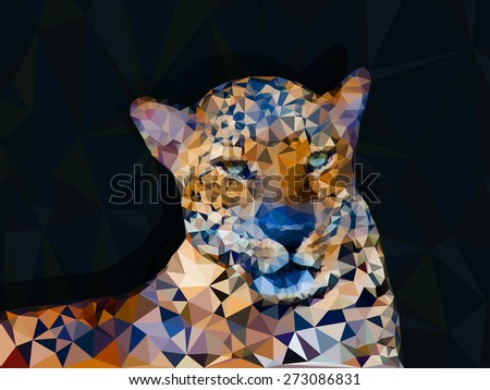 Low poly geometric of leopard, triangular shape mosaic on dark background  - stock vector